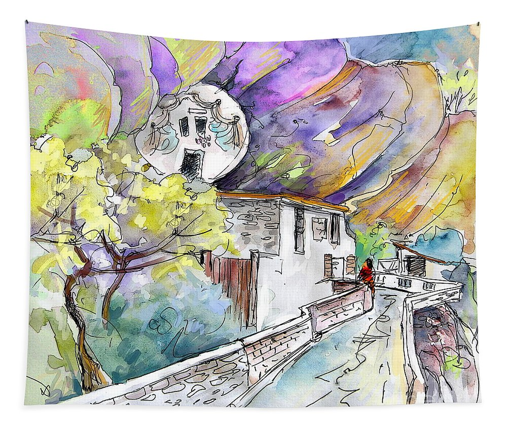 Arnedillo Tapestry featuring the painting Autol In La Rioja Spain 03 by Miki De Goodaboom