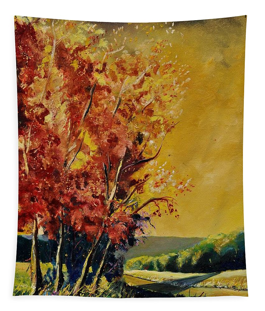 Landscape Tapestry featuring the painting Autumn 68 by Pol Ledent