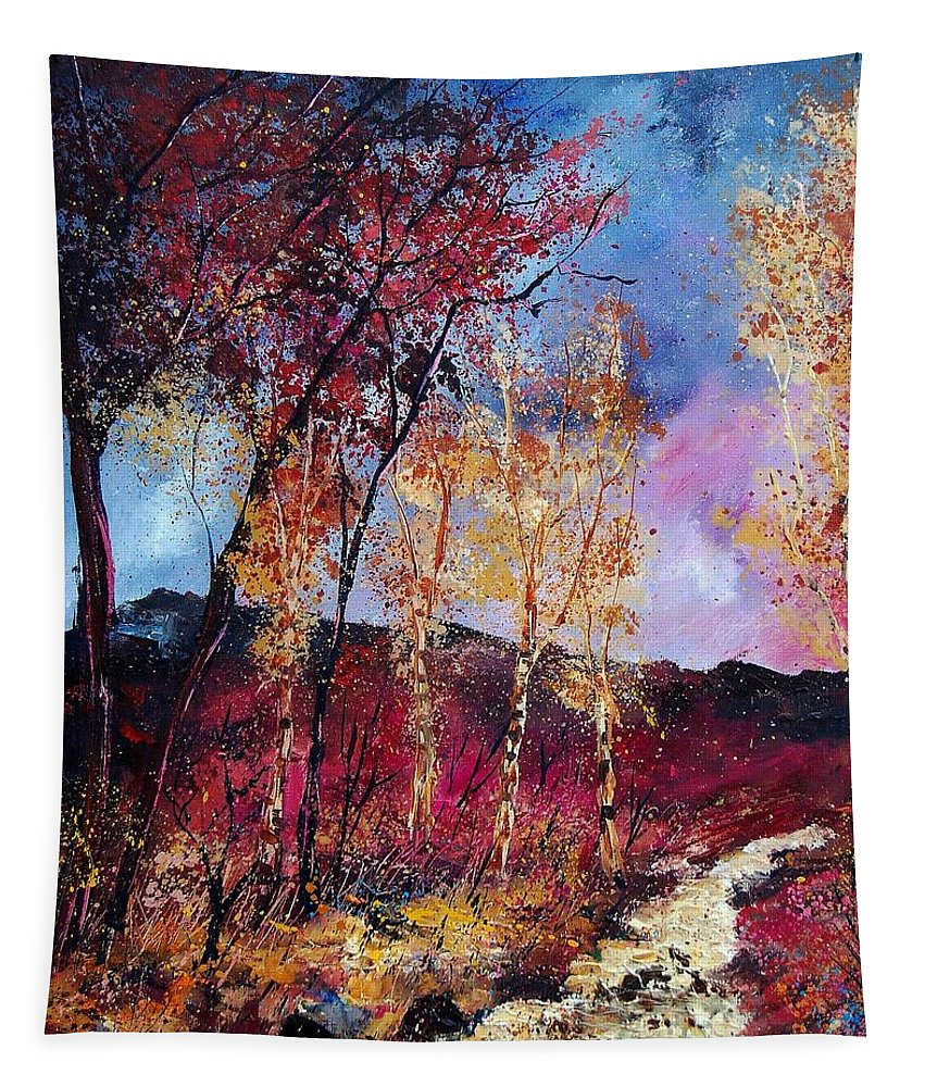 Landscape Tapestry featuring the painting Autumn 760808 by Pol Ledent
