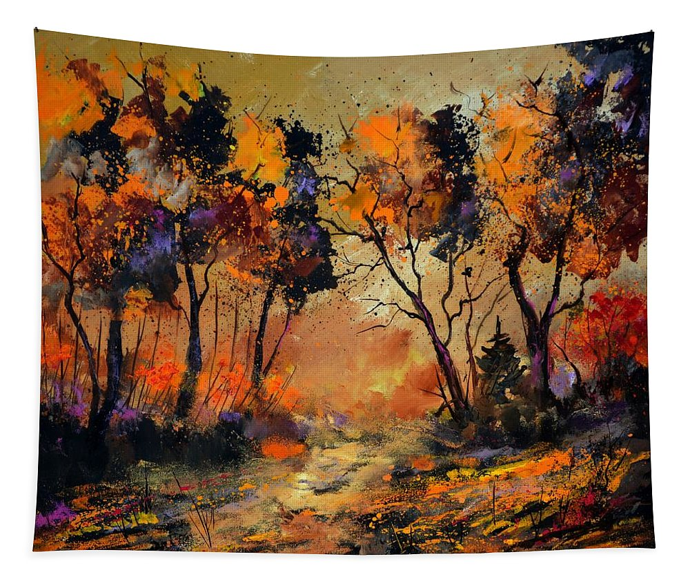 Landscape Tapestry featuring the painting Autumn 766130 by Pol Ledent