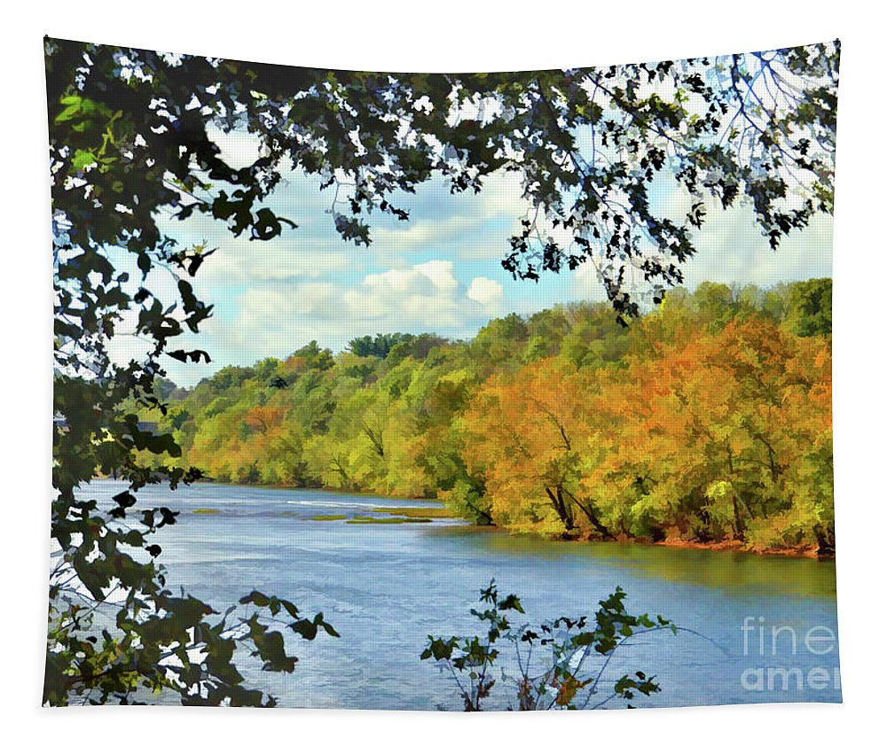 Autumn On The New River Tapestry featuring the photograph Autumn Along The New River - Bisset Park - Radford Virginia by Kerri Farley