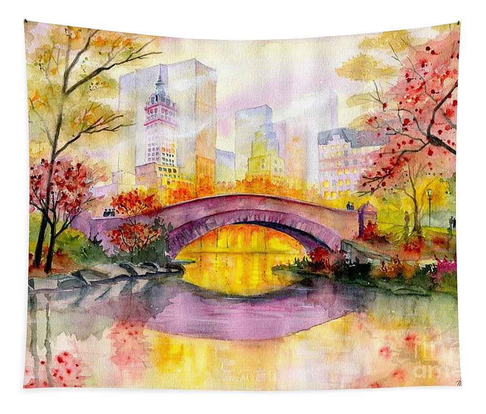 Autumn At Gapstow Bridge Central Park Tapestry featuring the painting Autumn at Gapstow Bridge Central Park by Melly Terpening