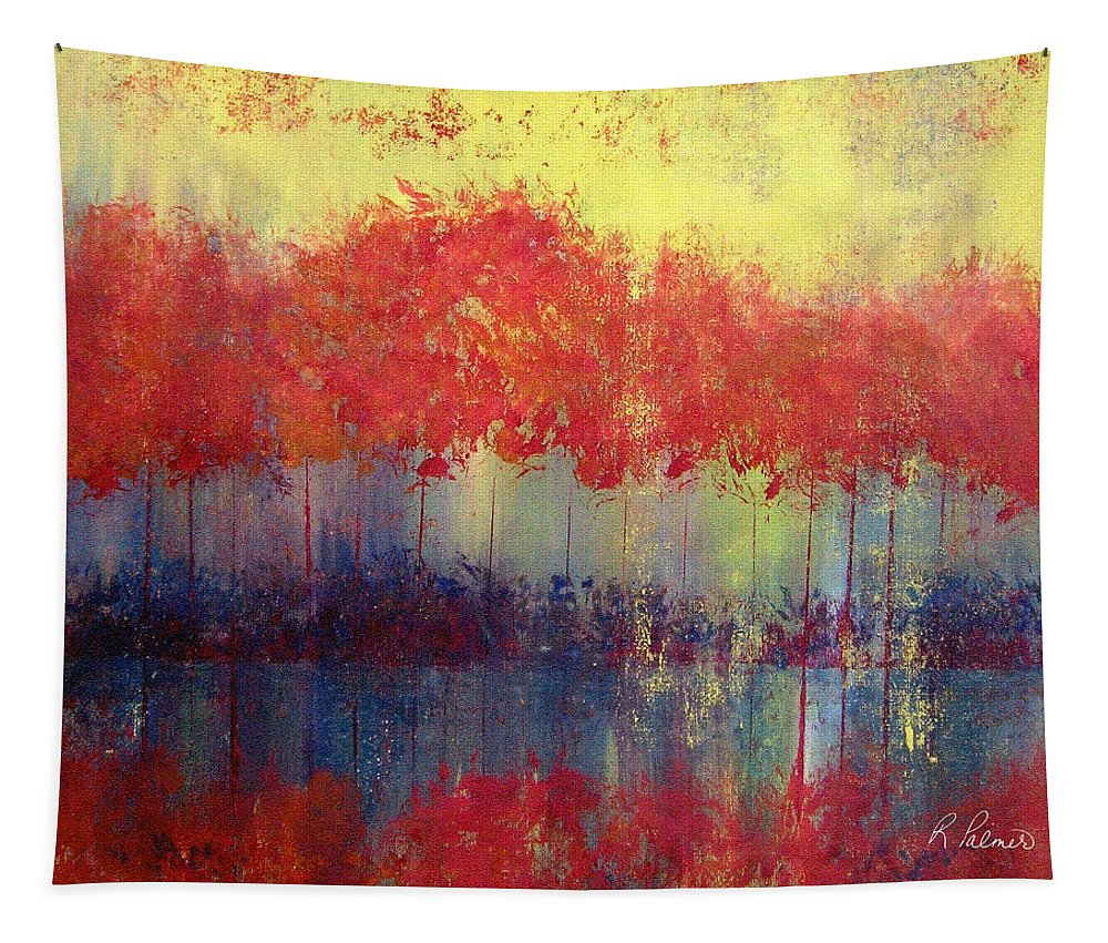 Abstract Tapestry featuring the painting Autumn Bleed by Ruth Palmer
