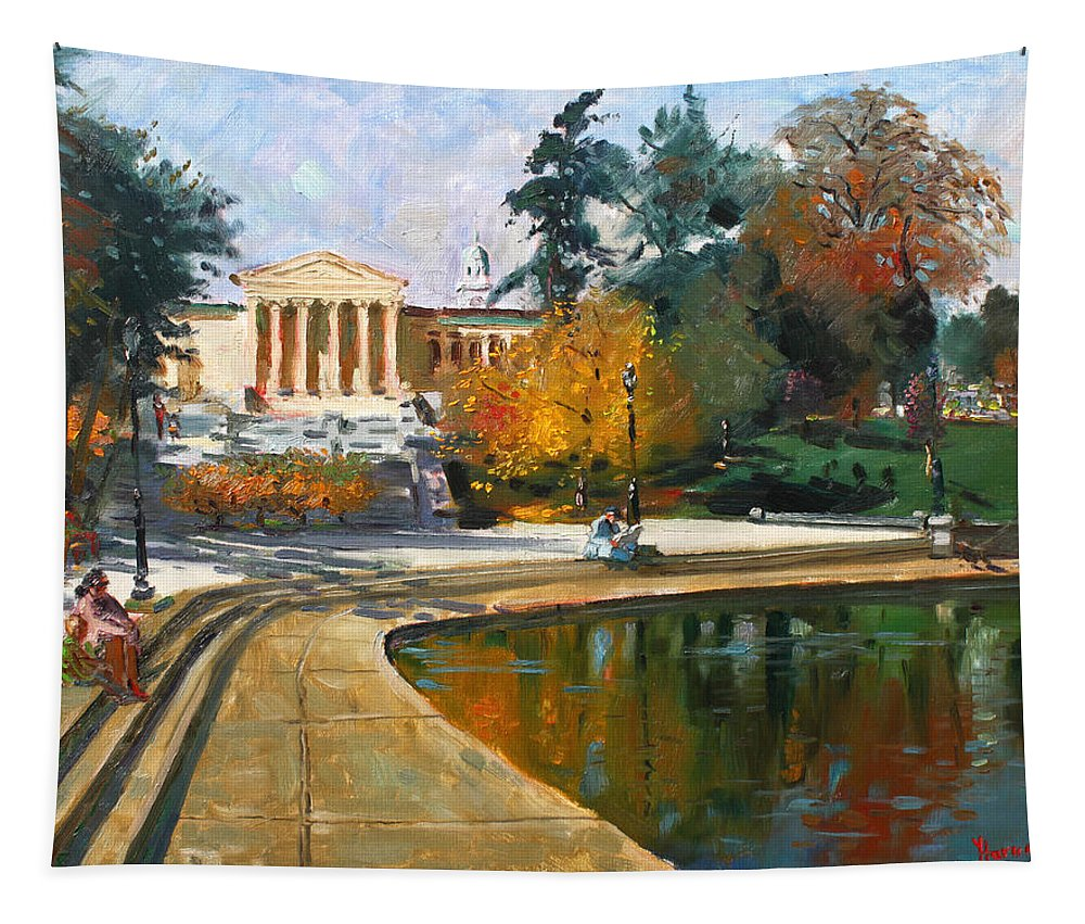 Landscape Tapestry featuring the painting Autumn By Delaware Lake by Ylli Haruni