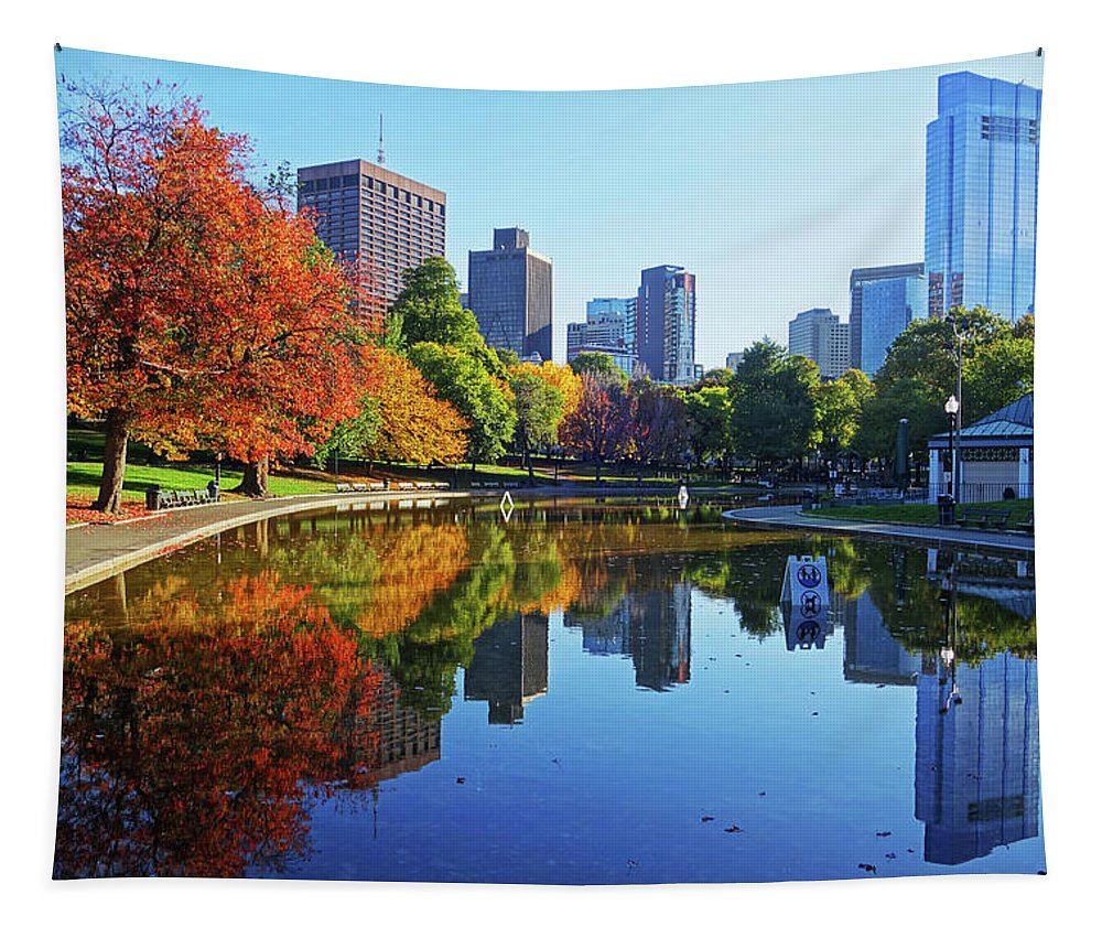 Autumn Tapestry featuring the photograph Autumn Foliage On The Boston Common Frog Pond by Toby McGuire