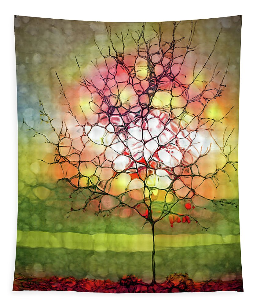 Light Tapestry featuring the digital art Autumn Glow At The Lake by Tara Turner