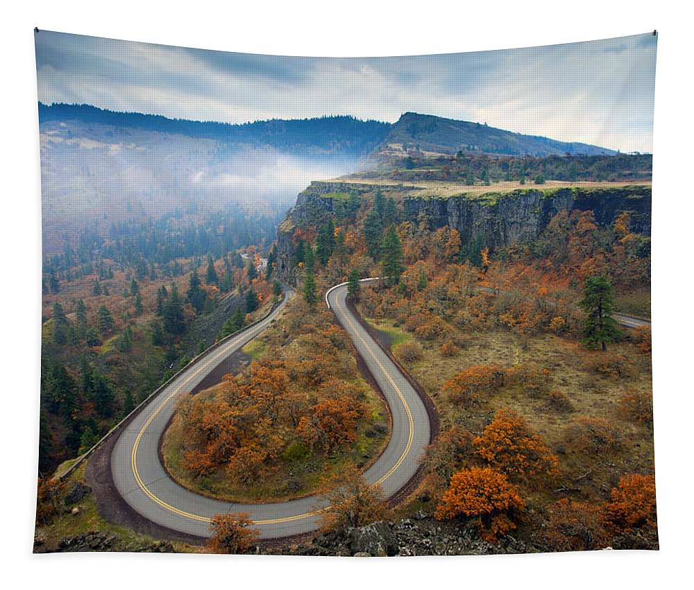 Hairpin Tapestry featuring the photograph Autumn Hairpin Turn by Mike Dawson