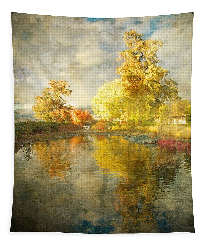 Japanese Gardens Tapestry featuring the photograph Autumn In The Pond by Tara Turner