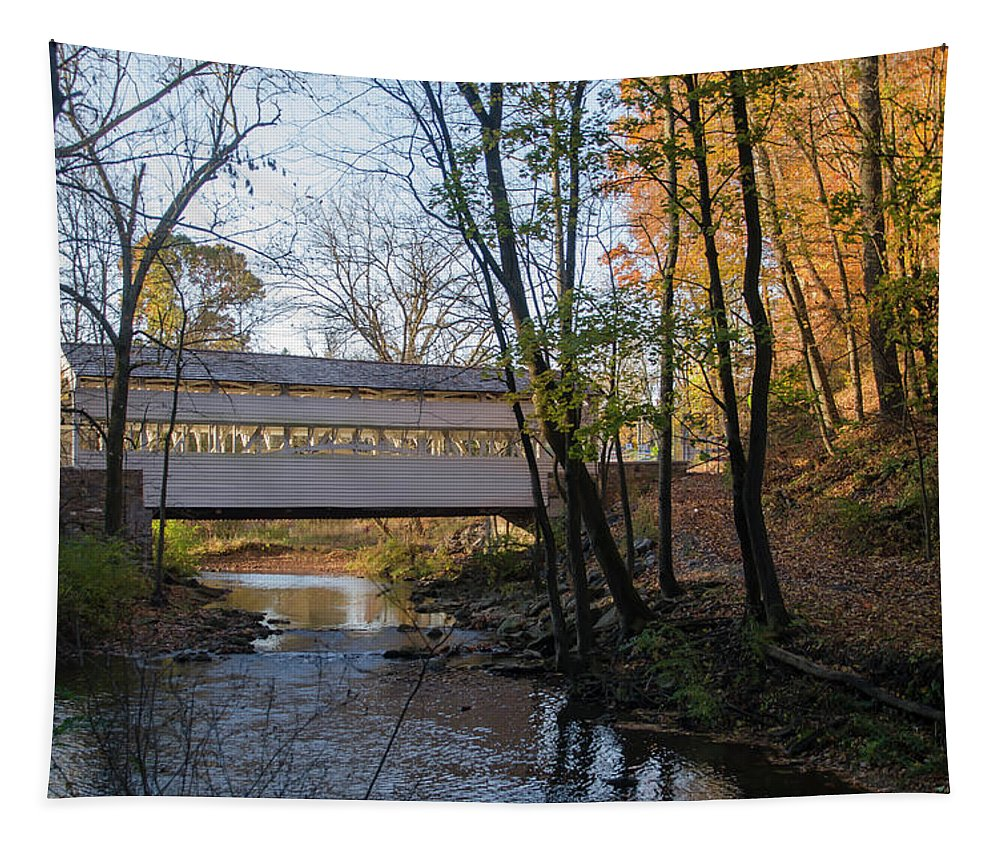Autumn Tapestry featuring the photograph Autumn In Valley Forge - Knox Covered Bridge by Bill Cannon