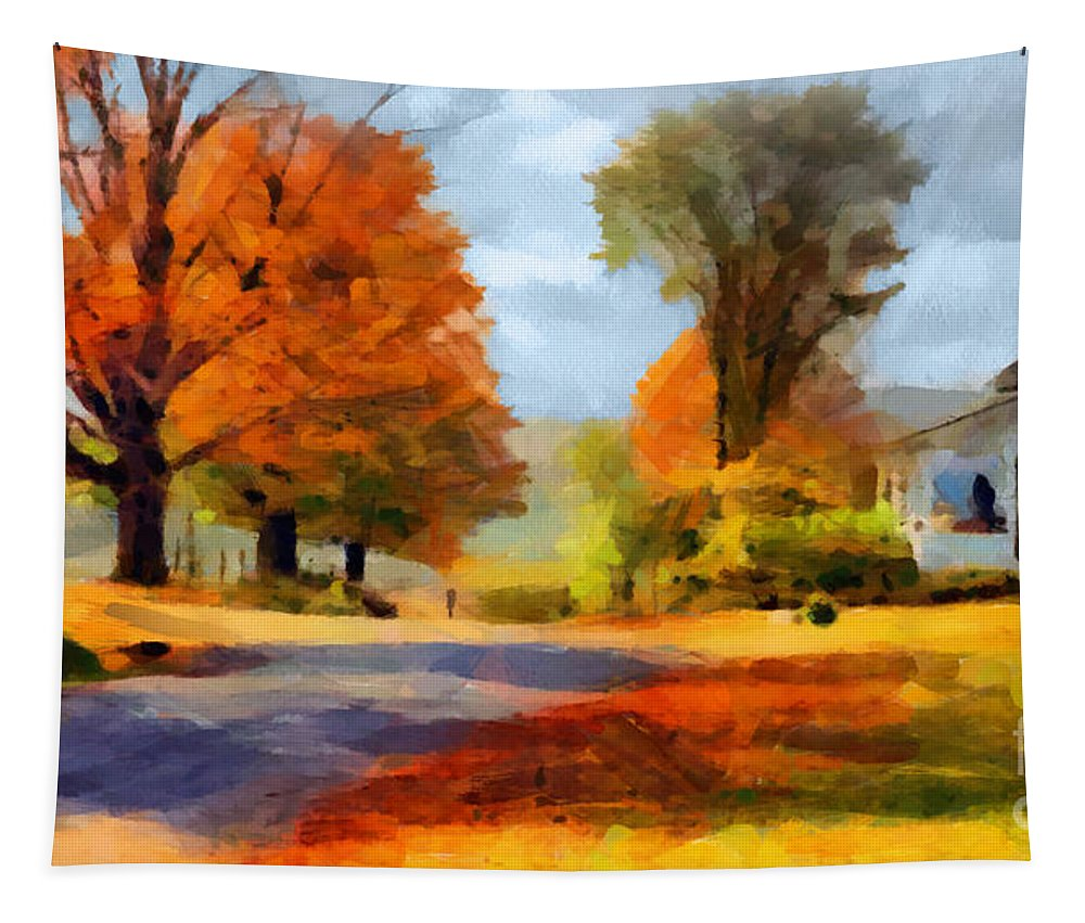 Autumn Landscape Poster Tapestry featuring the painting Autumn Landscape by Sergey Lukashin