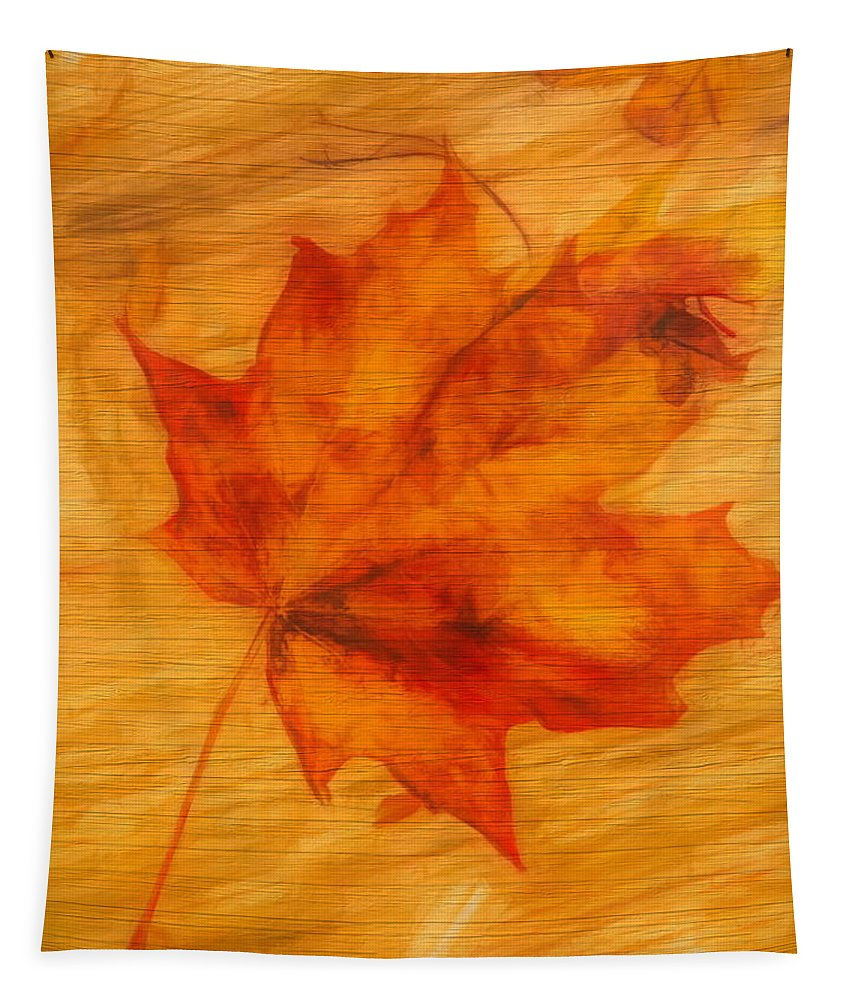 Autumn Leaf On Wood Tapestry featuring the painting Autumn Leaf On Wood by Dan Sproul