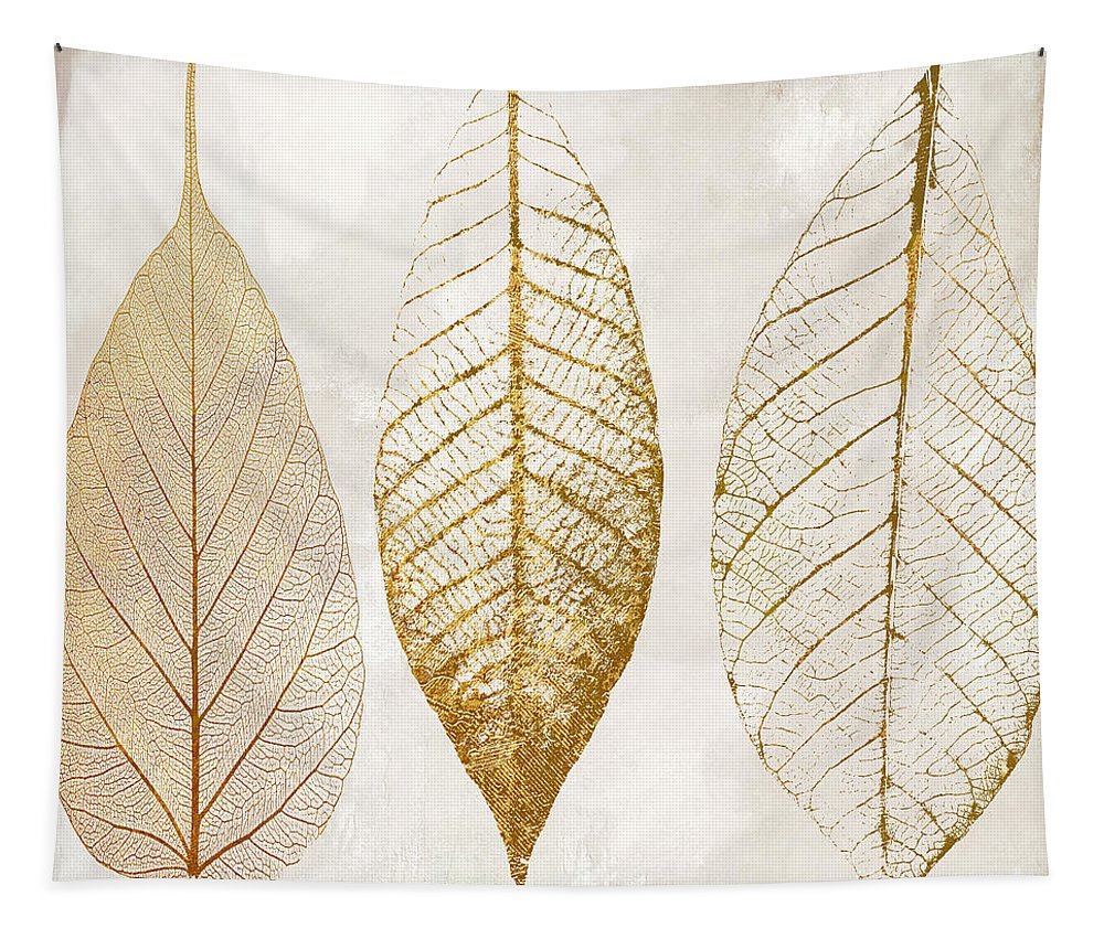 Leaf Tapestry featuring the painting Autumn Leaves III Fallen Gold by Mindy Sommers