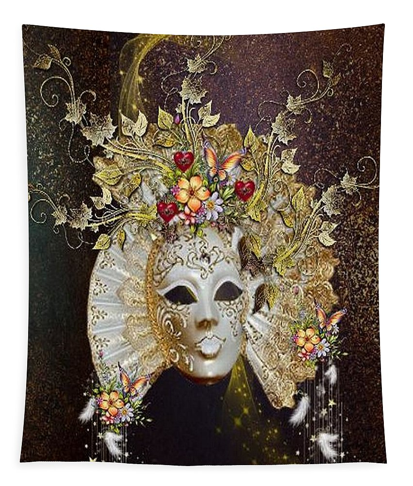 Fantasy Tapestry featuring the digital art Autumn Mask by Ali Oppy