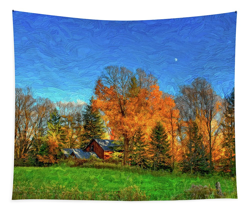 Moon Tapestry featuring the photograph Autumn Moon Rising by Steve Harrington