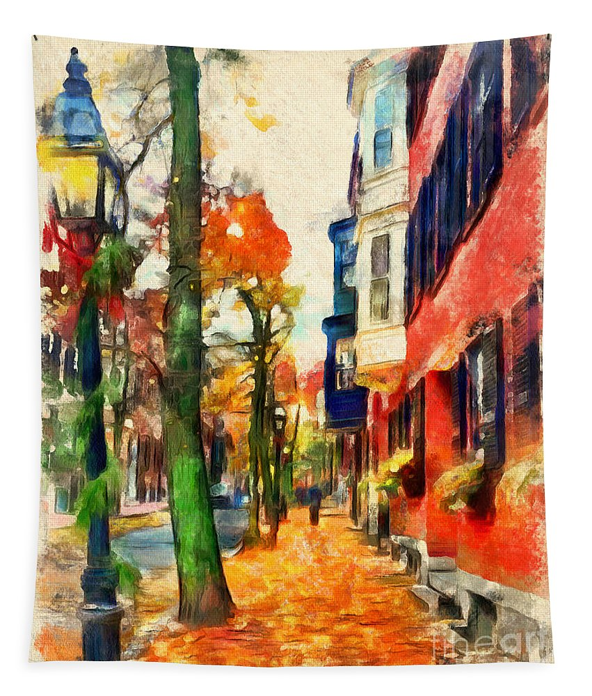 Boston Tapestry featuring the drawing Autumn On The Streets Of Boston by Sergey Lukashin