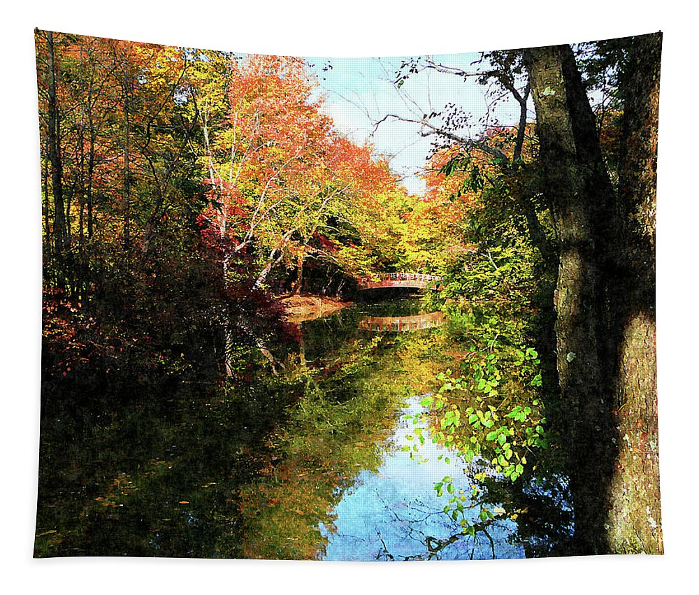 Autumn Tapestry featuring the photograph Autumn Park With Bridge by Susan Savad