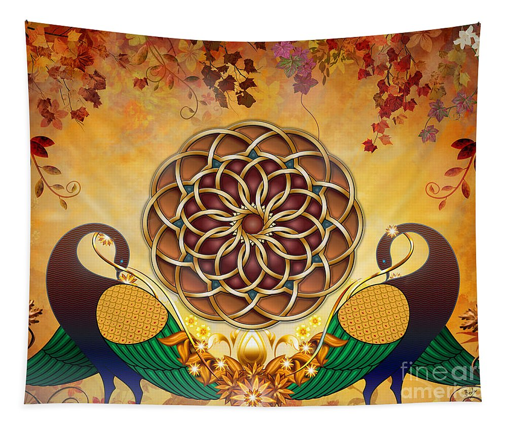 Mandala Tapestry featuring the mixed media Autumn Serenade - Mandala Of The Two Peacocks by Peter Awax