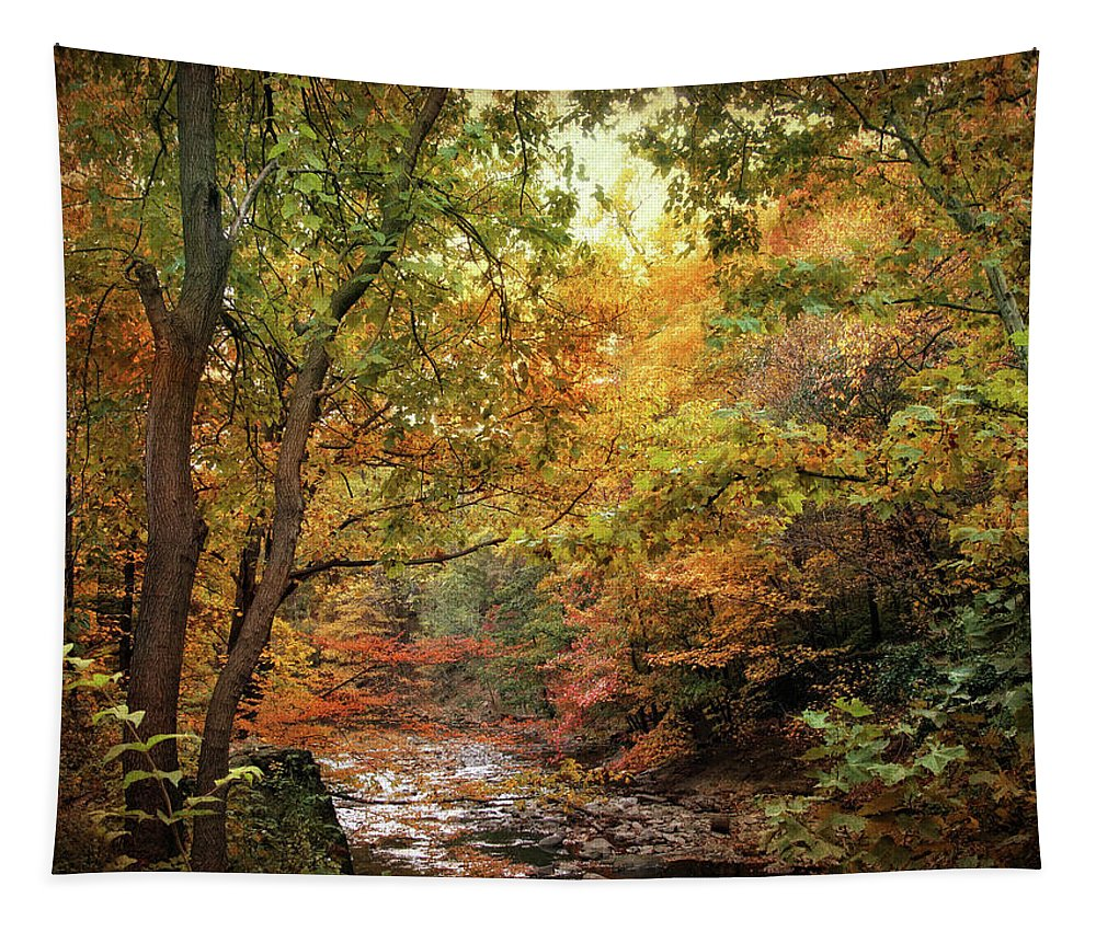 Nature Tapestry featuring the photograph Autumn Stream by Jessica Jenney