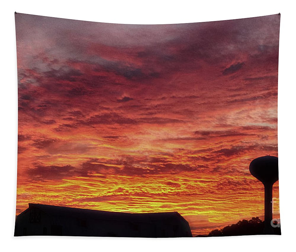 Red Tapestry featuring the photograph Autumn Sunset by Tom Gari Gallery-Three-Photography