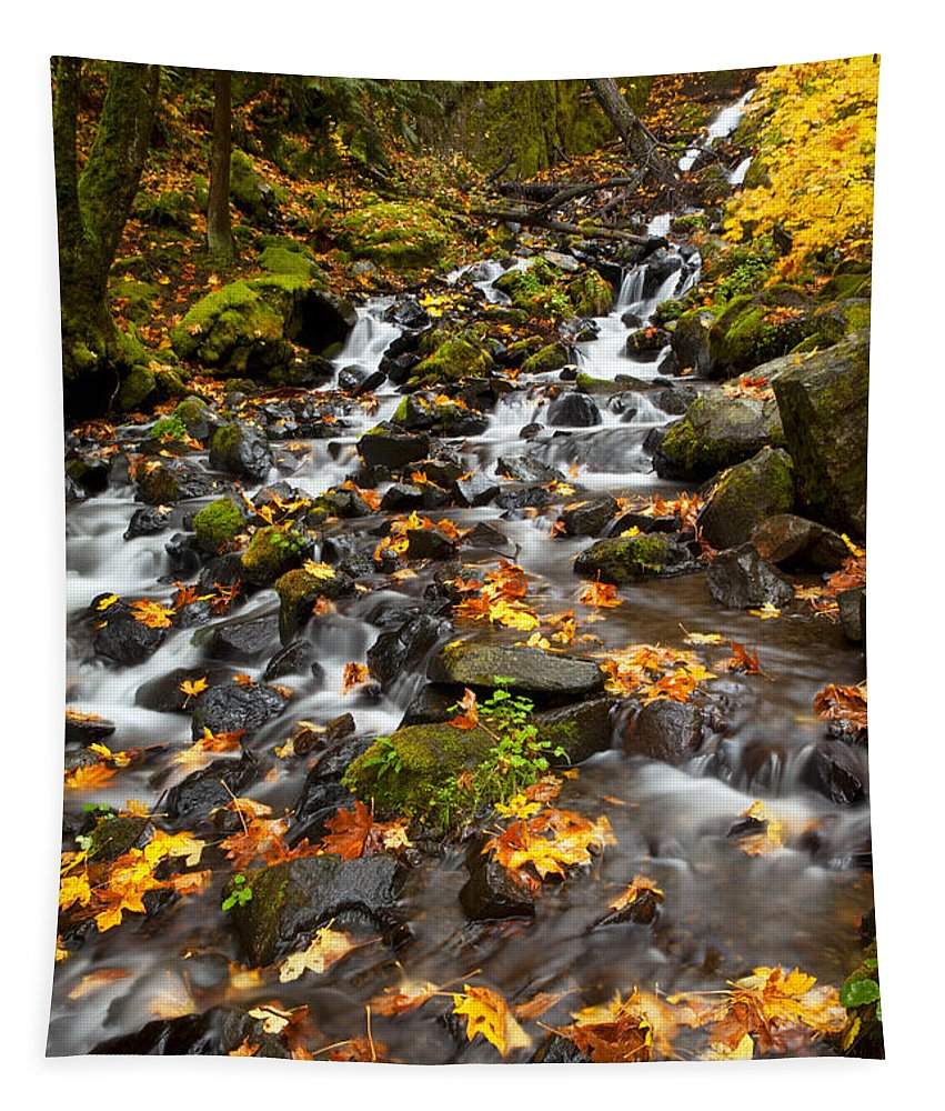Starvation Creek Tapestry featuring the photograph Autumn Tumbles Down by Mike Dawson