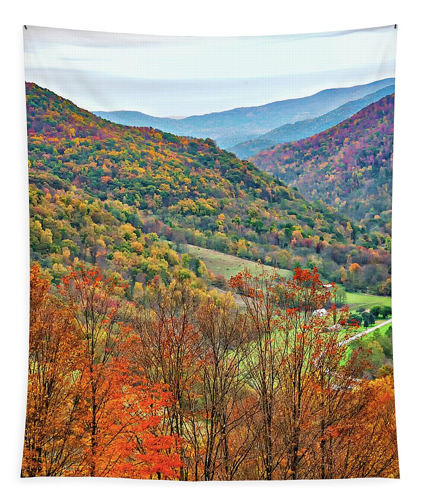 West Virginia Tapestry featuring the photograph Autumn Valley by Steve Harrington