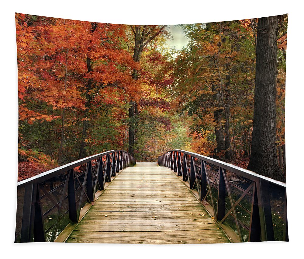 Autumn Tapestry featuring the photograph Autumn Woodland Crossing by Jessica Jenney