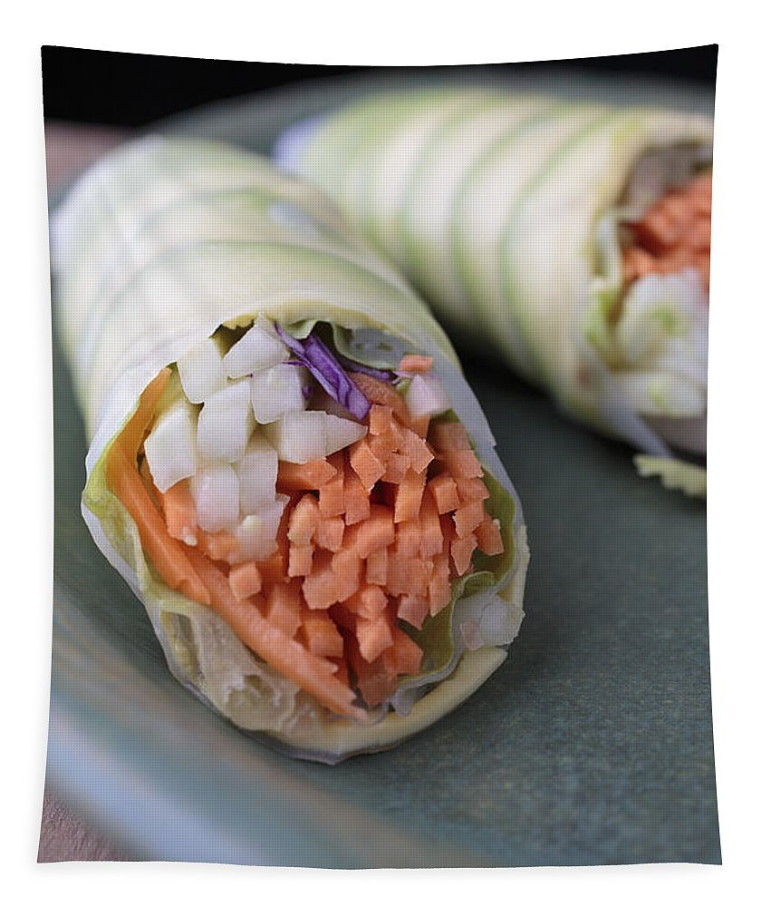 Food Tapestry featuring the photograph Avocado Roll Sushi by Edward Fielding