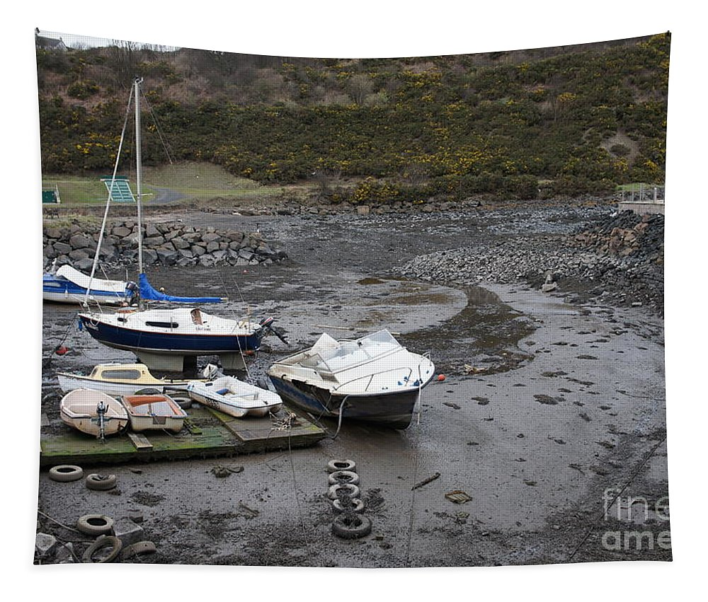 Boats Tapestry featuring the photograph Awaiting A Tide by Elena Perelman