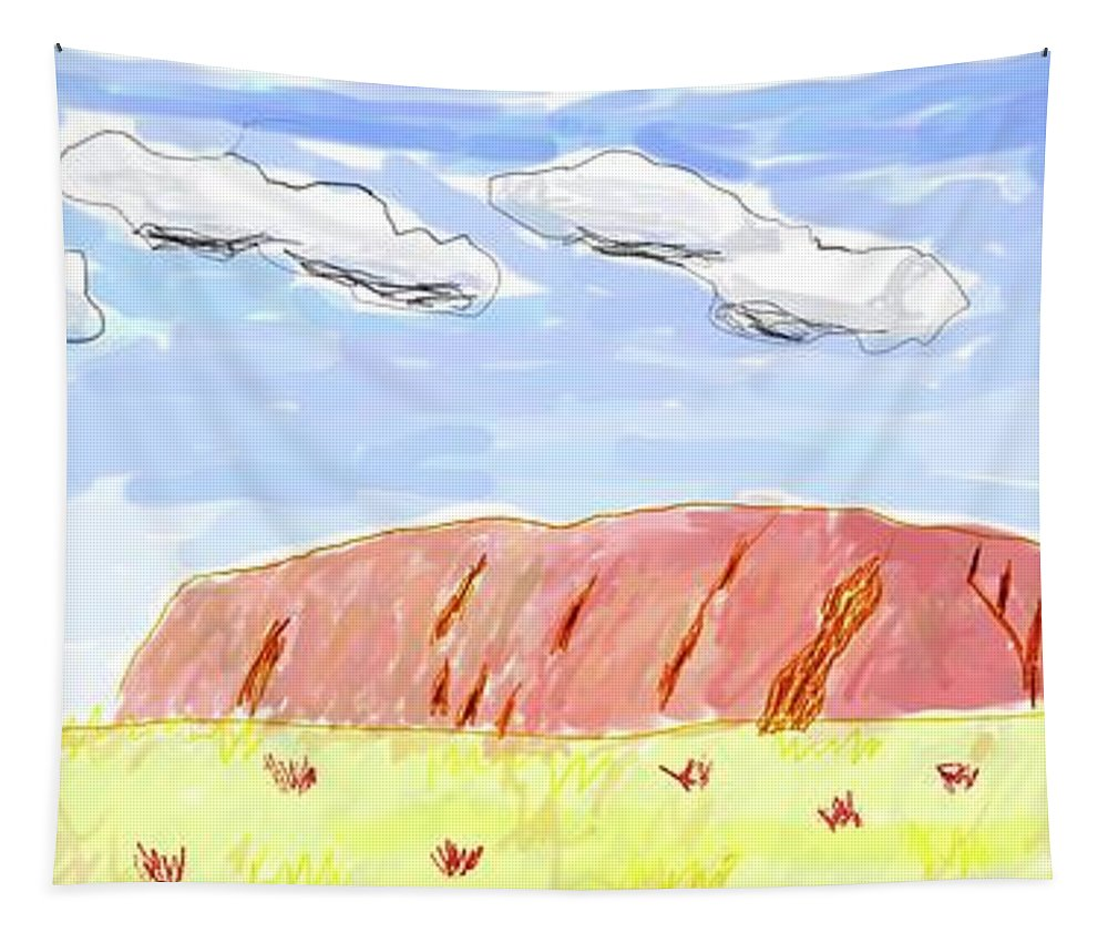 Ayers Rock Tapestry featuring the digital art Ayers Rock by Bruce