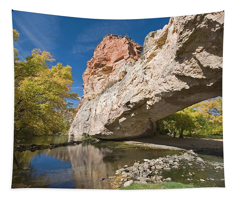 LandscapeNatureViewVistaPanoramaOutdoors Tapestry featuring the photograph Ayres Natural Bridge by Mary Lane