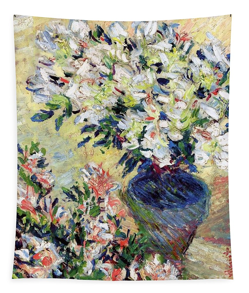 Azaleas Tapestry featuring the painting Azaleas by Claude Monet