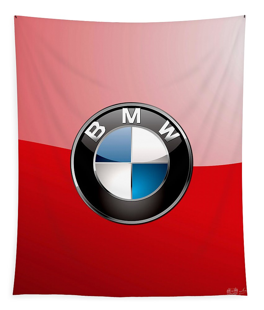'auto Badges 3d' By Serge Averbukh Tapestry featuring the photograph B M W Badge On Red by Serge Averbukh