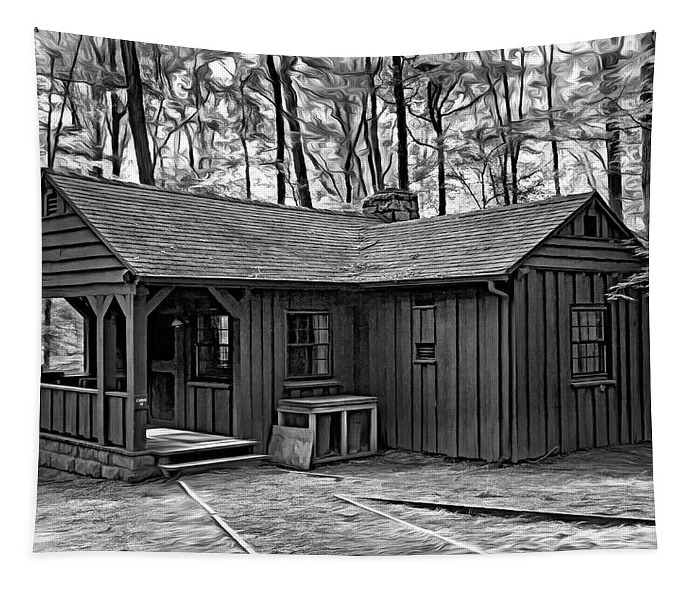 Cabin Tapestry featuring the photograph Babcock State Park Cabin - Paint Bw by Steve Harrington
