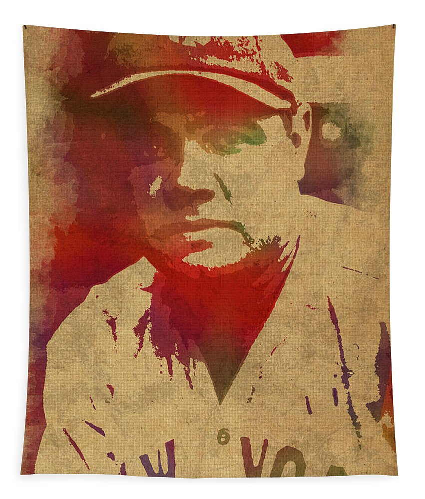 Babe Ruth Tapestry featuring the mixed media Babe Ruth Baseball Player New York Yankees Vintage Watercolor Portrait On Worn Canvas by Design Turnpike