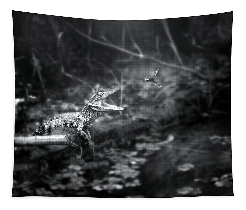 Alligator Tapestry featuring the photograph Baby Alligator Vs Mud Wasp by Mark Andrew Thomas