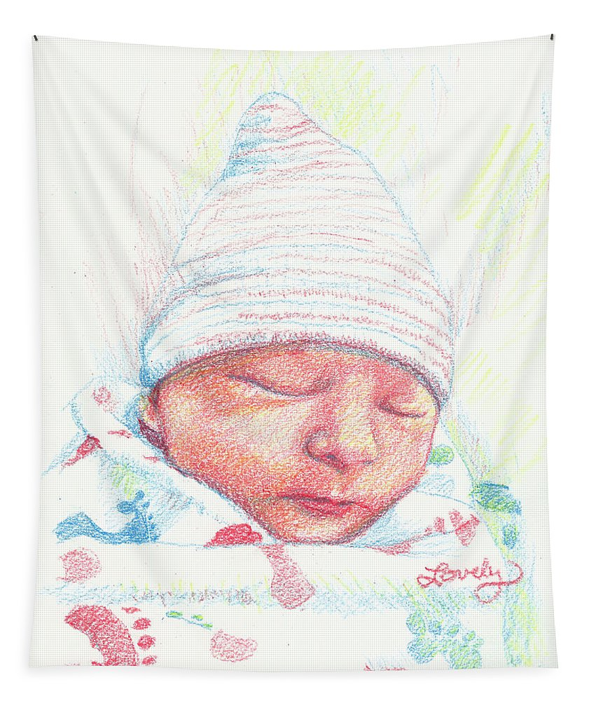 Infant Drawing Tapestry featuring the drawing Baby James by Candace Lovely