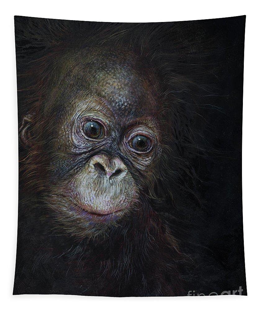 Baby Orangutan Tapestry featuring the painting Baby Orangutan Three by Odile Kidd