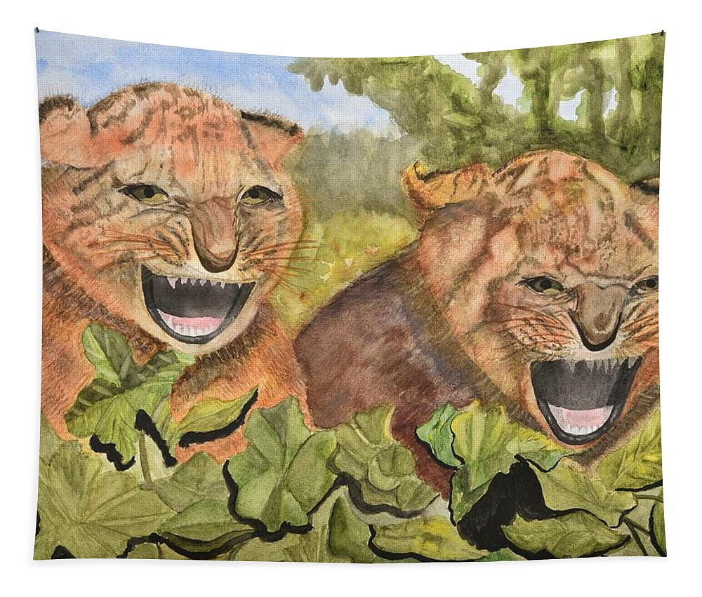Linda Brody Tapestry featuring the painting Baby Tiger Cubs by Linda Brody
