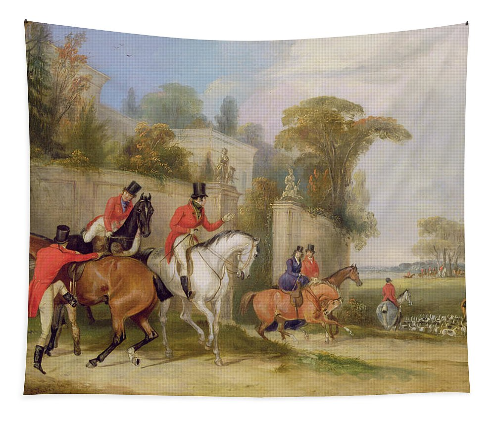 Xyc159645 Tapestry featuring the photograph Bachelor's Hall - The Meet by Francis Calcraft Turner