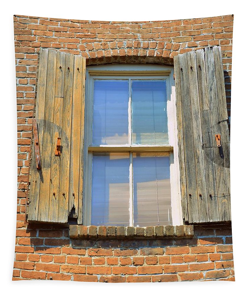 Window Tapestry featuring the photograph Back Alley Windows Of Savannah by Linda Covino