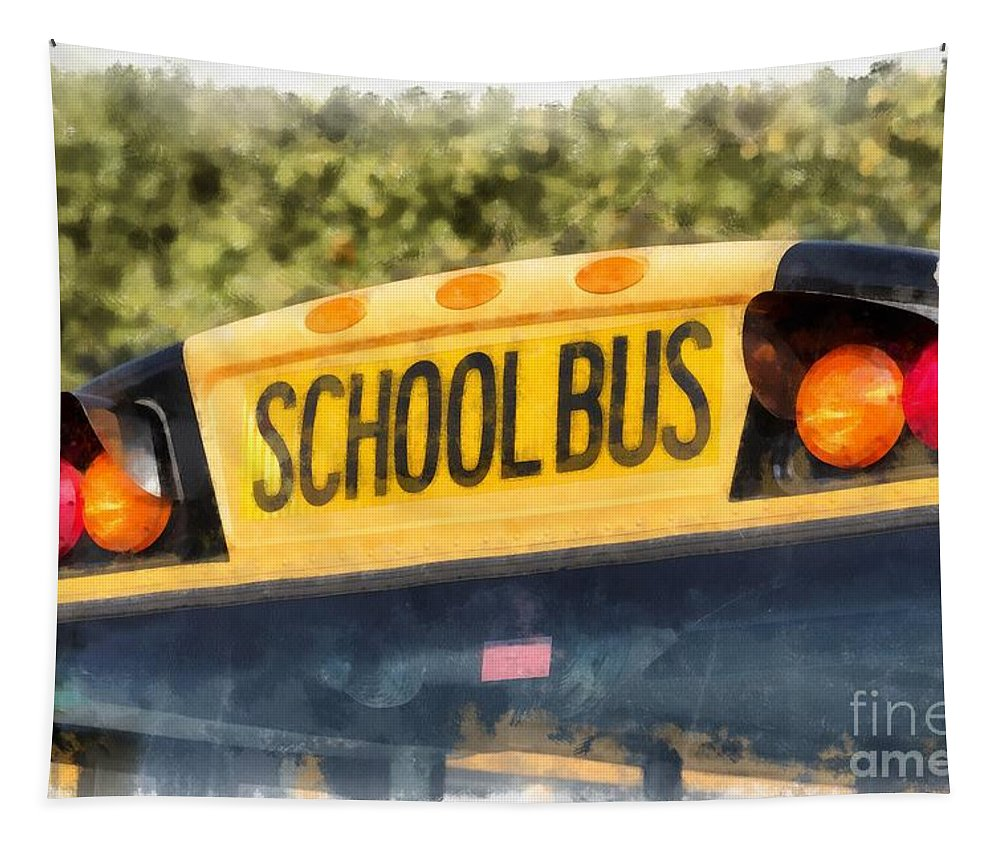 School Tapestry featuring the painting Back To School Bus Watercolor by Edward Fielding