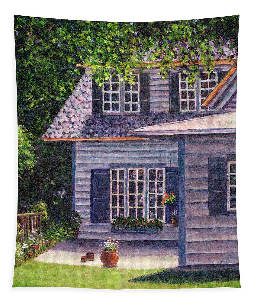 Flowerpots Tapestry featuring the painting Back Yard With Flower Pots by Susan Savad