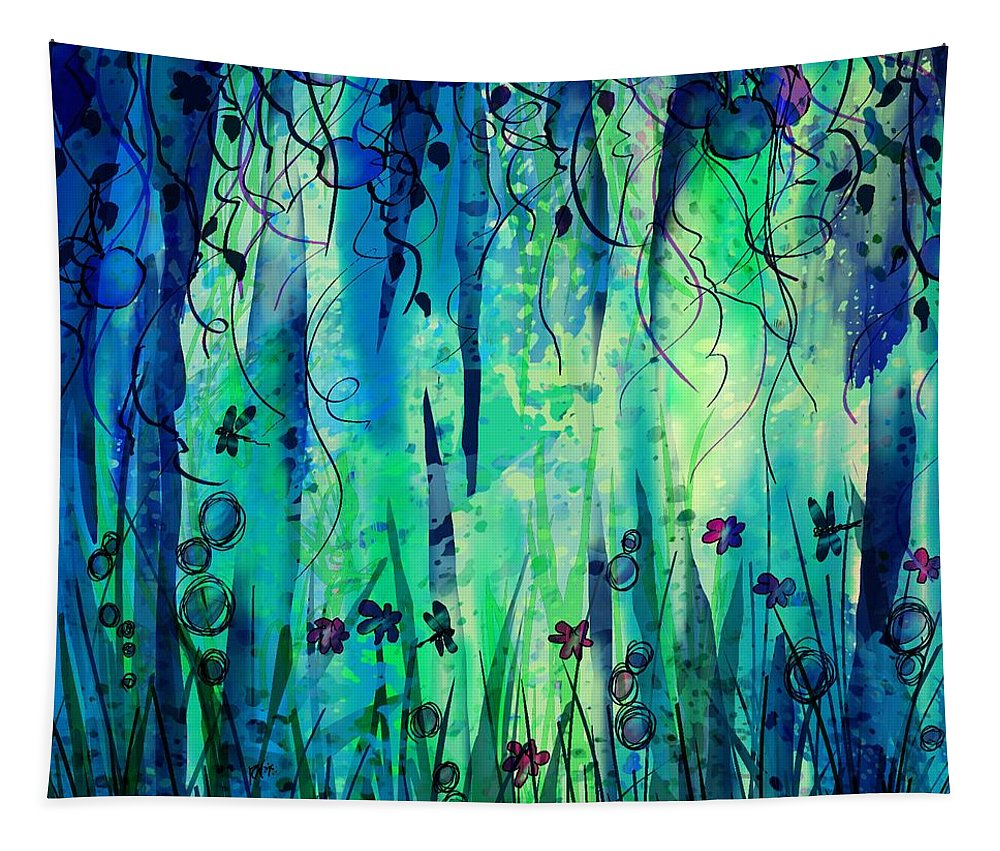 Abstract Tapestry featuring the digital art Backyard Dreamer by William Russell Nowicki