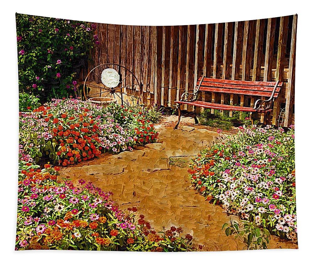 Pink Flower Tapestry featuring the digital art Backyard Garden by Paul Bartoszek