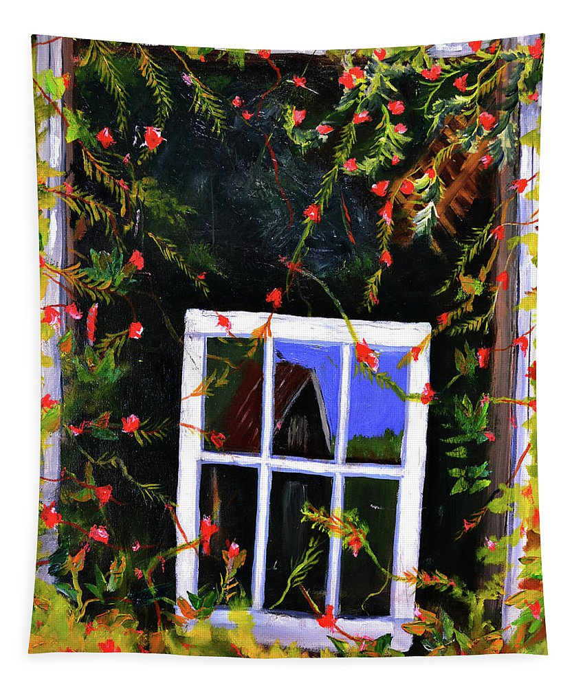 Still Life Tapestry featuring the painting Backyard Window by Joe Byrd