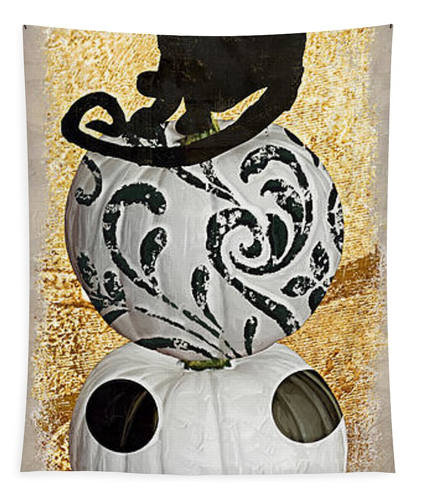 Halloween Tapestry featuring the painting Bad Cat Halloween by Mindy Sommers