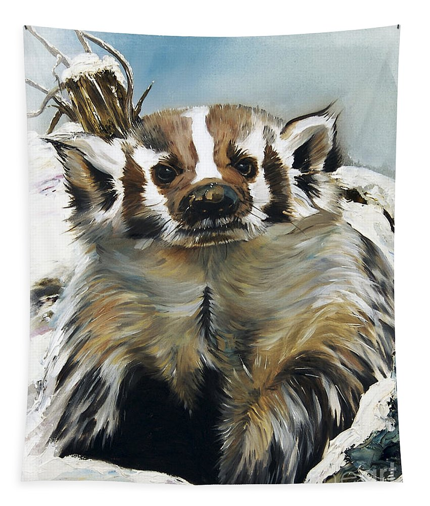 Southwest Art Tapestry featuring the painting Badger - Guardian Of The South by J W Baker