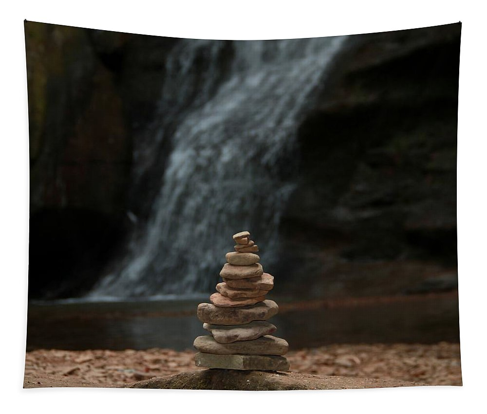 Balanced Stones Waterfall Tapestry featuring the photograph Balanced Stones Waterfall by Dan Sproul