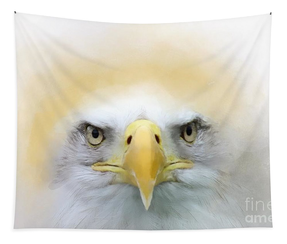 Imia Design Tapestry featuring the digital art Bald Eagle Paint No 01 by Maria Astedt