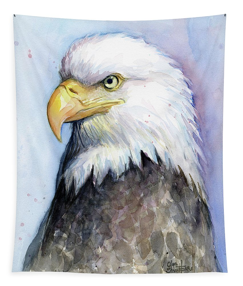 Bird Tapestry featuring the painting Bald Eagle Portrait by Olga Shvartsur